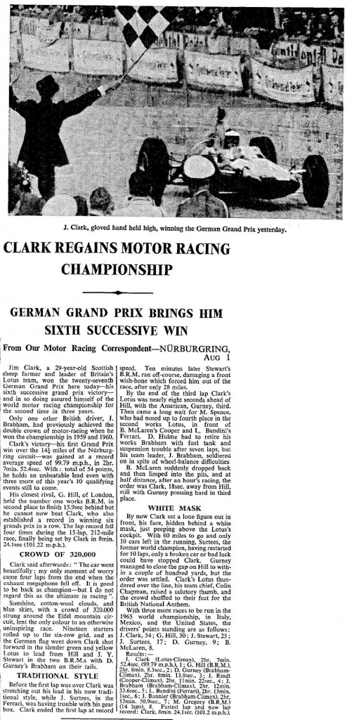 Clark Regains Motor Racing Championship