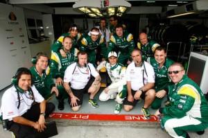 Heikki Kovalainen Pit Garage Lotus Racing Malaysian Grand Prix 2010