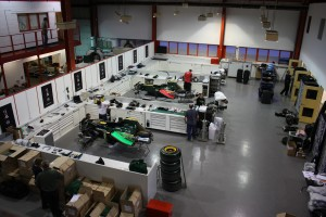 Lotus F1 racing team factory transport prep