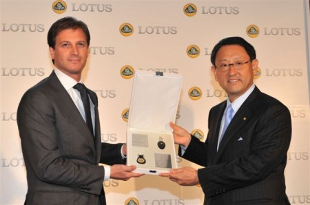 Dany Bahar, CEO of Group Lotus (left) presented  the keys to the Lotus Elise R alongside a commemorative plaque encased in a leather wallet to Toyota Motor Corporation President, Akio Toyoda (right)