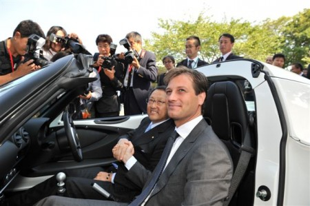 Dany Bahar, CEO of Group Lotus (right) and Toyota Motor Corporation President, Akio Toyoda (left) in the Lotus Elise R housing the final Toyota 2ZZ-GE engine produced