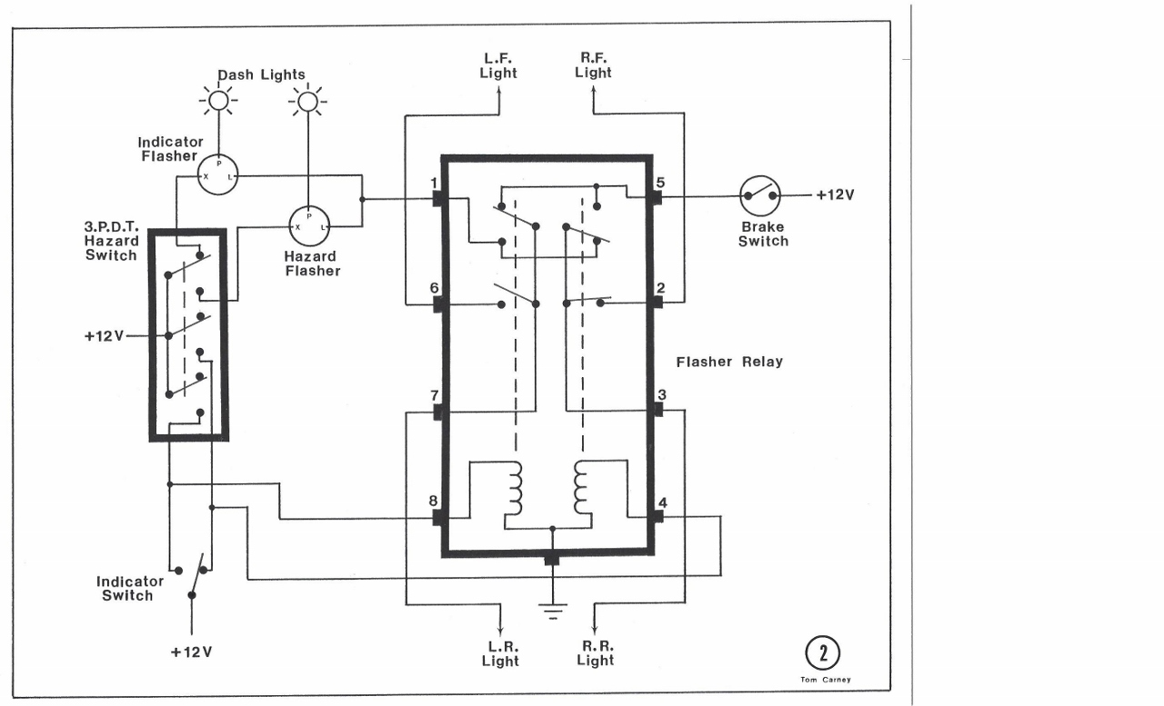 Indicator Hazard Light Circuit Relay Turn On Voltage Power Is Fed Through All Three Contacts Of This Switch To The Flasher And Both Coils Db10